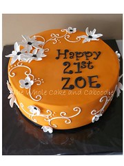 orange ya glad (The Whole Cake and Caboodle ( lisa )) Tags: flowers orange white black cakes cake 21 21st scrolls caboodle