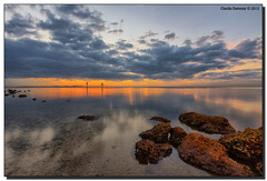 Calm Biscayne Bay (Fraggle Red) Tags: ocean morning pink clouds reflections landscape dawn bay rocks florida miami hdr coralgables firstlight biscaynebay countypark orangeglow 7exp channelmarkers mathesonhammockpark canonef1635mmf28liiusm miamidadeco dphdr canoneos5dmarkiii 5d3 5dmarkiii 5diii