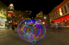 Color Wheel (Tom Haymes) Tags: night austin texas timeexposure austintexas lighttrails sixthstreet downtownaustin austinsixthstreet treyratcliffphotowalk sxsw2013 southbysouthwest2013