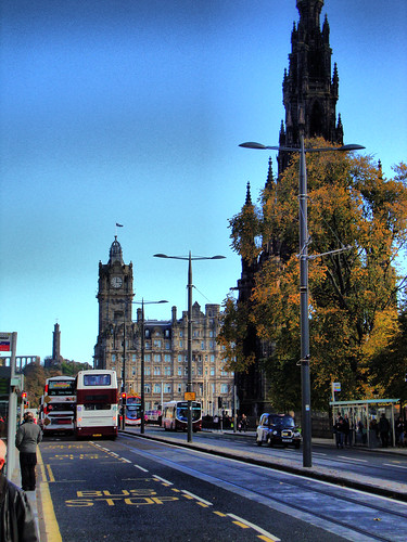 Scott Monument, Balmoral Hotel and Calton Hill from Princes Street, Edinburgh