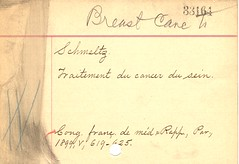 Handwritten subject card (National Library of Medicine - History of Medicine) Tags: photographs cataloging hiddentreasure nationallibraryofmedicine subjectcard