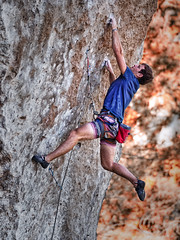 """Built to Last"" (Regan McCaffery) Tags: autumn sports olympus swing desperate extremesports rockclimbing throw omd dyno crimp builttolast em5 micro43 mzuikodigitaled75mmf18 craighouston"