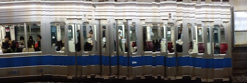 電車をパノラマ撮影