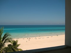 View of the beach (Lou Morgan) Tags: blue trees sea sky white holiday green beach window america relax hotel escape view balcony cuba palm latin sands varadero refresh loungers sunbeds