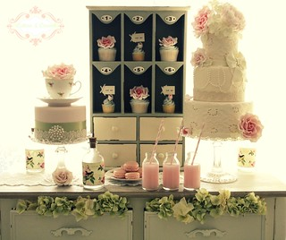 Vintage Country Garden dessert table by Cotton and Crumbs