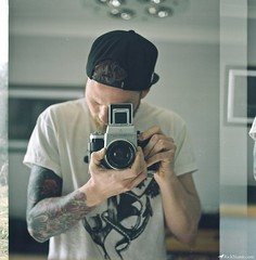 Self  April 2013 (Rick Nunn) Tags: life people man male 120 home hat tattoo self beard personal rick pentacon six tones nunn stockcategories snapback anyforty