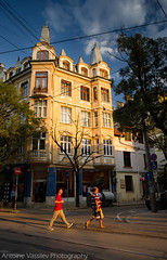 ". """" / At Alabin Street (AVasilev) Tags:             building alabin street facade turrets people pedestrians sunset former hotel kazandzhiev sofia"