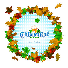Oktoberfest vector round frame of maple leaves on white background (graficaprint) Tags: oktoberfest fest vector frame beer festival label celebration background isolated october autumn mug symbol germany sign holiday design alcohol glass banner drink bavaria party bavarian text decoration element lager art texture munich pub card vintage typography glossy pattern inscription national tradition goblet blue culture colorful invitation white maple oak leave
