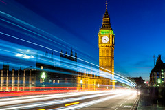 London is Lit (Dave G Kelly) Tags: london uk england bigben londoneye longexposure lighttrail night twilight westminster bridge