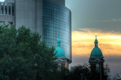 Crossing Sunset (KC Mike D.) Tags: sunset dome church steeple cross building downtown architecture catholic clouds sky hue windows