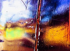 Reflections in shiny paint (Steve-h) Tags: abstract art design paint rust shine scratches colour colours red orange yellow green blue car wall tree house sky textures iphonography cameraphone dublin ireland europe fall autumn september 2016 apple iphone 6s lightroommobile garagedoors