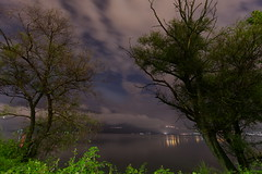 After the storm [Explored September 11 2016] (ChrisBrn) Tags: trees lake clouds mist fog mountain lights night