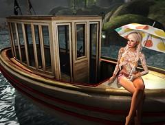 Sexy Boat Sunning (lauragenia.viper) Tags: lode catwacandy catwahead chezmoi genre glint ipiteme lumae lumipro mayfly pinup revamped secondlifefashion treschicevent wasabipills sexy tattoo topless umbrella avatar secondlife outdoor woman