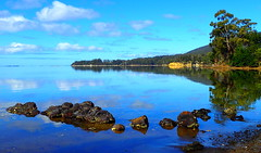 ROCKS and REFLECTIONS (elliott.lani) Tags: scenictasmania view beautiful rocks trees reflection reflections blue bluesky cloud clouds skies