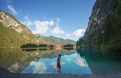 A crystal dream. (Mattia Bonavida) Tags: nikon nikonclub nature nital nikonitalia nikoneurope nikonusa national gettyimages geographic mattia mattiabonavida mountains lady woman girl mount dolomites lake braies reflections italy travel explore adventure trentino trentinoaltoadige trekking sunny falls autumn sky clouds d800e nikkor iamnikon iamdifferent