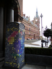 British Colourful Phone Box (eyair) Tags: uk england london st hotel kingscross stpancras pancras stpancrashotel ashmashashmash