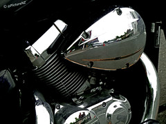 The Honda's Shadow (Steve Taylor (Photography)) Tags: shadow black reflection bike closeup contrast honda chopper pipe motorbike chrome cylinder motorcycle block lowkey cruiser exhaust 750 vtc lokey vt750 liquidcooled graphiteblack theinspirationgroup