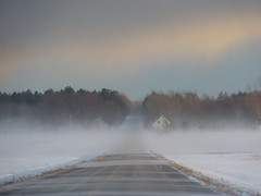 S'lever dans les nuages. Rise in the clouds (Amiela40) Tags: road winter white clouds way countryside hiver route nuages campagne blanc chemin blowingsnow poudrrie
