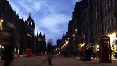 Royal Mile, winter evening 02 (byronv2) Tags: street building church architecture night clouds scotland twilight edinburgh cathedral dusk royalmile bluehour oldtown nuit telephonebox edimbourg edinburghbynight saintgilescathedral