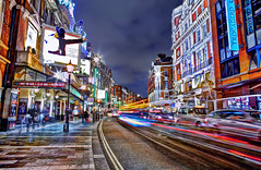 Shaftesbury Avenue - HDR long exposure (Anatoleya) Tags: city 3 london night canon prime evening long exposure traffic theatre mark f14 iii ave 5d 24mm avenue westend hdr shaftesbury theatres shaftsbury f14l 5d3 anatoleya