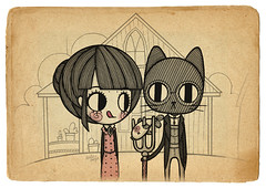 GRANT WOOD HB (Anita Mejia) Tags: life cute love illustration pen ink cat day journal kitty doodle gato kawaii sanvalentin 14defebrero chocolatita anitamejia
