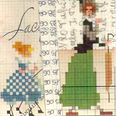 woman + 2 girls (kurberry) Tags: collage crossstitch ephemera tissuepaper tracingpaper magazinepages bookpages vintageephemera bookbindingteam