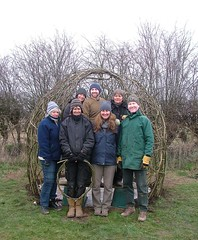 Willow dome workshop (Mark and Rebecca Ford Art Sculpture) Tags: tuppennybarn23feb13maggiehaynes willowweavingsouthbournetuppennybarnorganicssouthdownswestsussexhantsemsworthharbourconservancyecoweddingsgreenweddingsdome