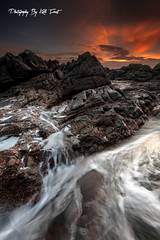 Fingal Bay (Kiall Frost) Tags: red sky orange sun white seascape water clouds sunrise point landscape photography photo rocks photographer australia nsw heads portstephens waterflow fingalbay kiallfrost