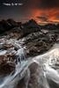 Fingal Bay (Kiall Frost) Tags: red sky orange sun white seascape water clouds sunrise point landscape photography photo rocks photographer australia nsw heads portstephens waterflow fingalbay kiallfrost