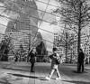 Near the World Trade Center Memorial (angeloangelo) Tags: people blackandwhite reflection glass buildings mirror photo memorial worldtradecenter perspective photograph 5d wtc canonef1740mmf4lusm 5dmarkii