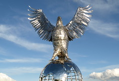 Big silver bird (Tony Worrall Foto) Tags: park uk blue england bird silver globe memorial war remember britain images chrome soldiers monuments staffordshire midlands staffs rememberence rafmemorial thenationalmemorialarboretum 2013tonyworrall