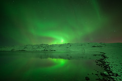 Solar storm sparks beautiful aurora#12 Explore (Gulli Vals) Tags: longexposure blue lake snow cold reflection green water beautiful stone canon stars frozen iceland aurora ísland northernlights montains kleifarvatn solarstorm purpe samyang14mm