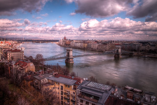 Blue skies breaking through over the Danube River, Budapest (HDR)