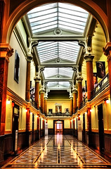 Elegant Hall at the National Portrait Museum (` Toshio ') Tags: door windows color reflection yellow museum painting washingtondc smithsonian hall dc washington bravo colorful arch capital hallway frame archway elegant toshio nationalportraitmuseum