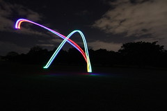 Quadcopter Light Painting (Strepto) Tags: park light color colour night painting lights flying long exposure paint pretty control patterns shapes australia quad brisbane ufo led helicopter frame qld remote strips saucer yeronga naza hoverthings quadrotor quadcopter multirotor vc450