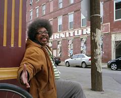 Astrological Jesus Talk (EvenShift///3) Tags: street ohio man 120 film corner glasses cincinnati afro friendly mamiya7 findlaymarket