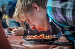 pie eating contest (Claire Gaz) Tags: man 35mm cherry pie nikon mess eating contest stranger plaid mouthful d5000