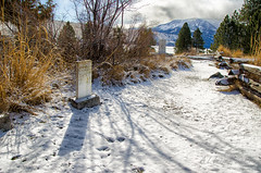 Graveyard With a View (SimplyAmy74) Tags: snow mountains beautiful grave graveyard oregon joseph shadows headstone wallowa chiefjoseph