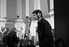Abbey Road Studio 2 [Explored] (The_Kevster) Tags: leica light portrait blackandwhite bw music man london monochrome person stand shadows bokeh insulation rangefinder landmark boom pinkfloyd sing headphones microphone beatles abbeyroad studios emi recording stjohnswood summicron50mm abbeyroadstudios leicam9 2013march