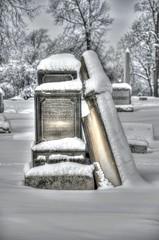 Lean on Me (willkommen) Tags: winter cemeteries snow wisconsin graveyards graves milwaukee gravestones hdr calvarycemetery wwh nikond90