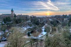 luxembourg at the end of the day (Patrick Mayon) Tags: city bridge sunset landscape europe cityscape pont luxembourg paysage hdr ville coucherdesoleil urbanlandscape photomatix adolphe tonemapped paysageurbain