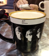 Beatles Cup at Coffy (Mr.TinDC) Tags: cup mugs cups mug beatles latte chai columbiaheights iphone coffy chailatte coffycafe