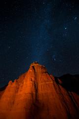 Goblin by firelight (Bill Bowman) Tags: stars utah teal firelight goblins goblinvalley milkyway starlight birthdaycandle