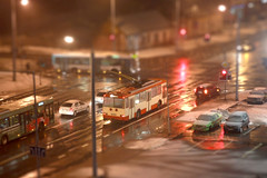 Tilt shift trolley (slip-up) Tags: night canon traffic trolley 1855mm 1855 lithuania vilnius trolleybus lietuva tiltshift faketiltshift 1855is canoneos550d