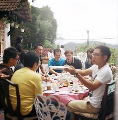 Happy Together (Ifitis) Tags: morning friends light green love 120 film leaves vintage mediumformat chair friend asia southeastasia hand tea kodak tl malaysia medium pentacon six portra 120mm p6 pentaconsix czj