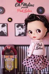 Oh! Melina strikes back! (Cherryta) Tags: pink ladies white black up fashion night dinner vintage dance cafe 60s doll pin retro grease prom oh jukebox blythe 50s takara melina rizzo adg