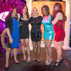 Five Beauties! (kaceycd) Tags: pumps highheels tgirl stilettoheels pantyhose crossdress spandex lycra tg stilettos minidress wetlook tankdress sexypumps stilettopumps