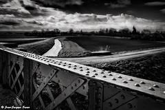 2288 - Les wateringues, Audruicq, 2013 (ikaune) Tags: bridge blackandwhite bw landscape canal noiretblanc nb pont paysage campagne numrique audruicq ikaune