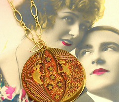 Antique Sun & Moon gold necklace (AlliesAdornments) Tags: sun moon gold necklace jewelry button brass goldnecklace buttonjewelry antiquebutton buttonnecklace solandluna victorianbuttonnecklace