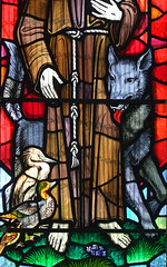 St Francis of Assisi's wolf, heron and duck (detail) by John Lawson, 1974 (Simon_K) Tags: stpancras catholic rc ipswich suffolk eastanglia church churches roman